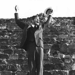 1979, PRIEST OF LOVE: Ian McKellen (D H Lawrence) orating on the steps of the temple at Monte Alba, just outside Oaxaca, Mexico
