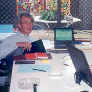 Ian McKellen and Keith Stern working on Magnetos Lair in Ians kitchen, Toronto