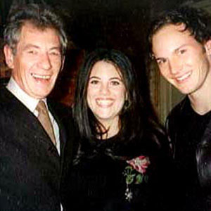 Ian McKellen, Monica Lewinsky, Patrick Wilson at the Westside Theatre in New York for the Only Make Believe benefit, 5 November 2001.  Only Make Believe brings theatre games to hospitalized children.