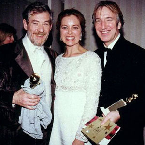 With Gretha Scacchi and Alan Rickman after winning the Golden Globes.