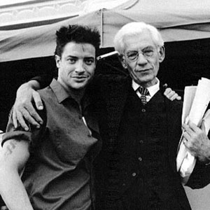 1997, GODS AND MONSTERS: Brendan Fraser (Clay) and Ian McKellen (Whale) on the set.