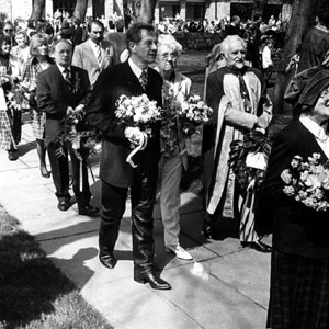 Shakespeare Birthday Celebration (23 April 1997) with Jean Jones (sister) and Prof Stanley Wells walking from the birthplace to put flowers on his grave in Holy Trinity Church, Stratford-upon-Avon