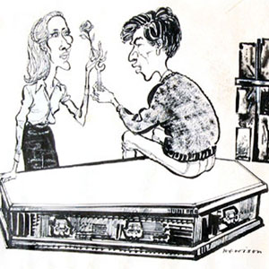 Cartoon: by Hewison in Punch Magazine: Jennifer Hilary (Zoe) and Ian McKellen (Godfrey) - I bought the original drawing which accompanied the Punch review, starting a collection of Hewison