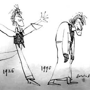 Cartoon by Quentin Blake in Punch.  This drawing, now in the possession of my sister Jean, amuses us both because the older figure reminds us of our paternal grandfather in his later years.