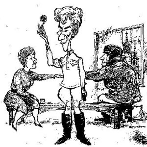 Cartoon from Punch by Hewison: Judi Dench (in Act 3 costume), Ian McKellen (Act 2), and Ian McShane (Act I)