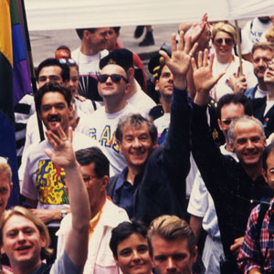 1993,   With Michael Cashman (right, in black) and John Miskelly (left, in Keith Haring Tee) — London Gay Pride 1993