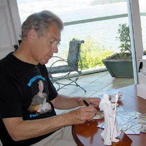 Signing Gandalf the White trading cards, Vancouver, September 2002