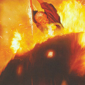 2002, THE LORD OF THE RINGS: THE TWO TOWERS: Gandalf the Grey fights the Balrog  - Photo by New Line Productions