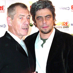 2003,   With Benicio del Toro at the Empire Awards, London
