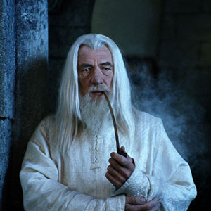 Gandalf the White at Minas Tirith looking toward Mordor