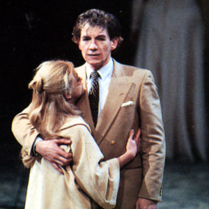 1984, CORIOLANUS (1984-5): About to exile himself from Rome, Coriolanus bids farewell to his wife Virginia (Wendy Morgan)