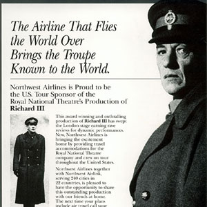 1992, RICHARD III (US Tour): Northwest Airlines Ad
