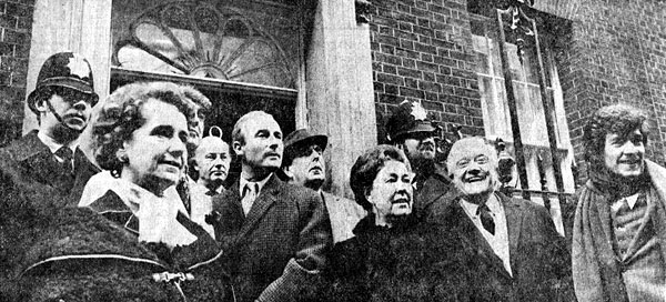 1971,   Delegation Day at No. 10: Members of Equity, the actors association, presented thousands of signatures in support of a letter written to the Prime Minister by members of the National Theatre in protest of the Industrial Relations Bill.  From left to right: Peggy Ashcroft, Derek Nimmo, Ernest Clark, Edward Woodward, Robert Morley, Peggy Mount, Andrew Cruikshank, Ian McKellen; 12 January 1971