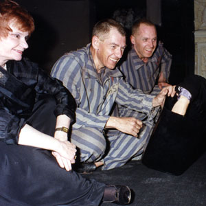 1990, BENT (1990): Thelma Holt, Ian McKellen, and Michael Cashman, post-performance, raising money to fight AIDS