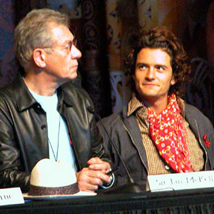 2003, THE LORD OF THE RINGS: RETURN OF THE KING: Press conference at Te Papa museum, Wellington NZ: Ian McKellen and Orlando Bloom  - Photo by Keith Stern