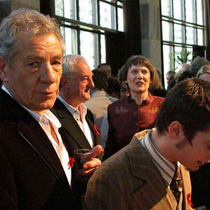2003, THE LORD OF THE RINGS: RETURN OF THE KING: Ian McKellen, Bernard Hill, P.M. Helen Clark, Elijah Wood at Parliament reception  - Photo by Keith Stern