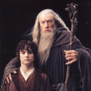 2001, THE LORD OF THE RINGS: THE FELLOWSHIP OF THE RING: Frodo (Elijah Wood) and Gandalf (Ian McKellen)