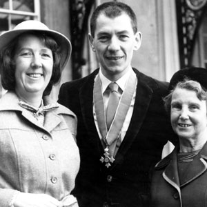 1979,   Gladys McKellen (step-mother), Ian McKellen (having just received C.B.E.) and Jean Jones (sister) outside Buckingham Palace, October 1979  - Photo by Westminster Press Limited