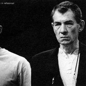 1991, RICHARD III: Mark Strong (First Murderer - Lord Lovel - Duke of Norfolk) and Ian McKellen in rehearsal  - Photo by John Haynes