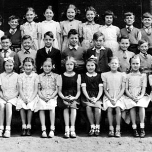 1949,   Methodist Primary School, Wigan. Ian McKellen 2nd from right in middle row.