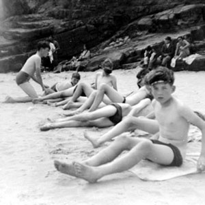 1952,   On the beach at Temby, South Wales: Bolton School camp at Saundersfoot