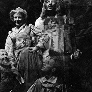 1960, TWELFTH NIGHT (Cambridge): Double exposure: Belch (Ian McKellen), Maria (Jill Daltry), Feste (Hugh Walters), Aguecheek (Michael Burrell)