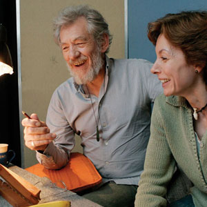 Ian McKellen and author Michelle Paver in London during recording