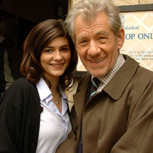 2005, THE DA VINCI CODE: With Audrey Tautou (Sophie Neveu) on location at Lincoln Cathedral, August 2005  - Photo by Keith Stern