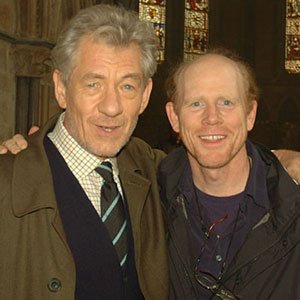 2005, THE DA VINCI CODE: With Director Ron Howard on location at Lincoln Cathedral, August 2005  - Photo by Keith Stern