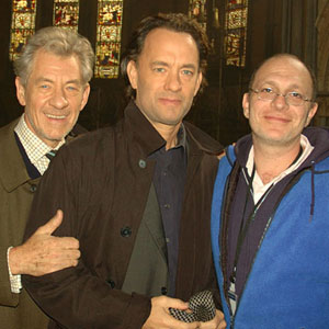 2005, THE DA VINCI CODE: With Tom Hanks (Robert Langdon) and screenwriter Akiva Goldsman on location at Lincoln Cathedral, August 2005  - Photo by Keith Stern