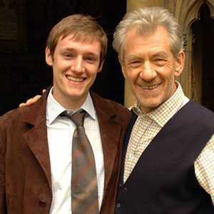 2005, THE DA VINCI CODE: Matt Butler (D.C. Watts) and Ian McKellen (Teabing) on location at Lincoln Cathedral  - Photo by Keith Stern