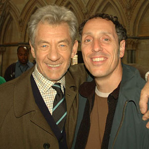 2005, THE DA VINCI CODE: With cinematographer Salvatore Totino on location at Lincoln Cathedral, August 2005  - Photo by Keith Stern