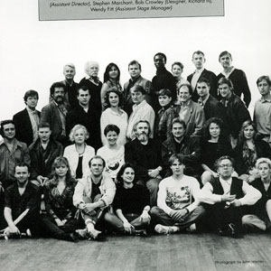 1990, KING LEAR (1990): The Cast and Crew of KING LEAR and RICHARD III:<b> Back Row: Richard Simpson, Sam Beazley, Jane Suffling, Nicholas Blane, Hakeem Kae-Kazim, Finoa Bardsley, Ian McKellen, John Caulfield<br> Third Row: David Collings, Bruce Purchase, Peter Sulligan, Susan Engel, Peter Jeffrey, Deborah Warner, David Bradley, Mark Strong, Richard Bremmer, David Milling<br> Second Row: Richard OCallaghan, Phil McKee, Joyce Redman, Clare Higgins, Brian Cox, Richard Eyre, Eve Matheson, Hildegard Bechtler<br> Front Row: Colin Hurley, Helen Kvale, Derek Cunningham, Cordelia Monsey, Stephen Marchant, Bob Crowley, Wendy Fitt