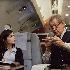 2006, THE DA VINCI CODE: Sophie (Audrey Tautou) and Teabing (Ian McKellen) on his jet