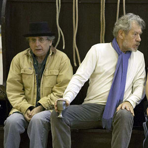 L-R Sylvester McCoy (The Fool), Ian McKellen (Lear) and Ben Meyjes (Edgar), in rehearsal