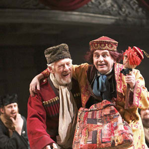 King Lear (Ian McKellen) and his Fool (Sylvester McCoy)