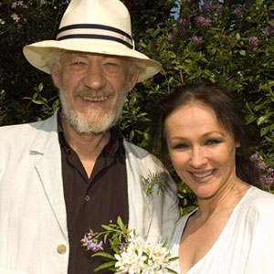 With Frances Barber in their garden, Stratford-upon-Avon, April 2007