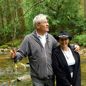 With Frances Barber in the Great Smoky Mountains, 15 May 2008