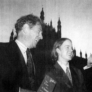 Neil Kinnock (right) discusses Stonewalls campaign for equalisation of the age of consent, with Sir Ian McKellen (left) and Euan Sutherland, 16, from Dulwich, southeast London