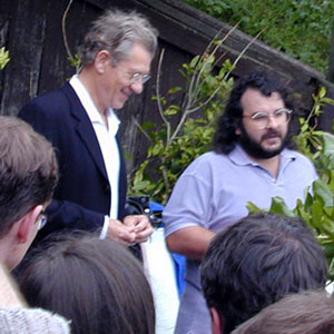 Ian McKellen and Peter Jackson address a backyard gathering of gay activists, Wellington, 2 December 2000