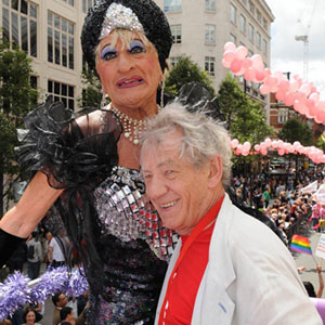 5 July<br>London Pride UK, with Maisie Trolette (David Raven) on the Older LGBT Community bus.