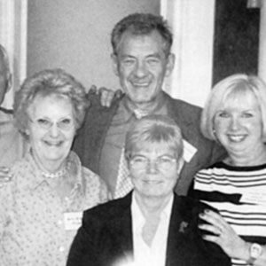Michael Cashman and Ian McKellen celebrating 10th anniversary of FFLAG (Friends and Family of Lesbians and Gays) in Birmingham, with  Leicester Parents Betty, Kath, and Jenny