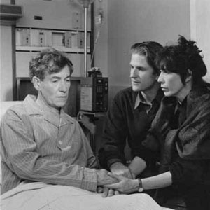 1992, AND THE BAND PLAYED ON: <em>Matthew Modine and Lily Tomlin bedside me in the working hospital where we filmed, with a number of actual AIDS patients in adjacent beds</em>