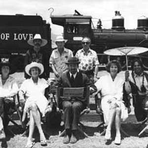 1979, PRIEST OF LOVE: L to R: Marizio Meru, Penelope Keith, Janet Suzman, Stanley Seger, Christopher Miles, Ian McKellen, Andrew Donnally, Ava Gardner, Jorge Riveras <BR><BR><em>The steam-train had been brought out of retirement and, for this publicity shot, re-named</em>