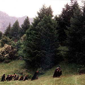 2001, THE LORD OF THE RINGS: THE FELLOWSHIP OF THE RING: Gandalf (Ian McKellen) and Frodo (Elijah Wood) lead the Fellowship through the mountains  - Photo by New Line Cinema