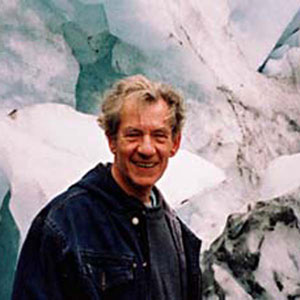 2000, THE LORD OF THE RINGS: THE FELLOWSHIP OF THE RING: Ian McKellen in front of a glacier, New Zealand