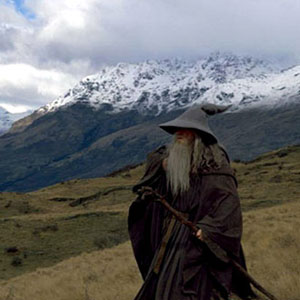 2001, THE LORD OF THE RINGS: THE FELLOWSHIP OF THE RING: Gandalf crosses the mountains  - Photo by Pierre Vinet/New Line Cinema