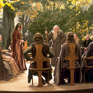 2001, THE LORD OF THE RINGS: THE FELLOWSHIP OF THE RING: Gandalf addresses the Council of Elrond (Hugo Weaving)  - Photo by Pierre Vinet/New Line Cinema