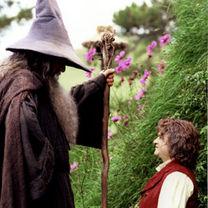2000, THE LORD OF THE RINGS: THE FELLOWSHIP OF THE RING: Gandalf (Ian McKellen) and a Hobbit  - Photo by Pierre Vinet