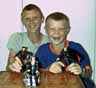 2000,   Robert and Andrew Blackman (sons of my niece Catherine Lois Blackman, nee Jones) play with great uncle Ian